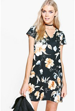 Lilou V Neck Floral Shift Dress