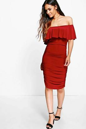 Ari Slinky Off Shoulder Ruched Bodycon Dress