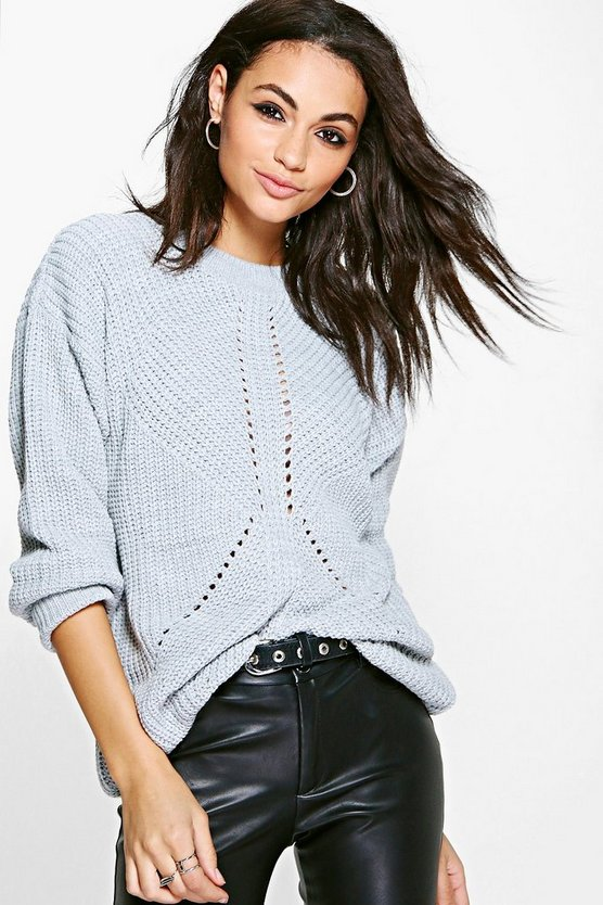 Hannah Chunky Mixed Stitch Fisherman Jumper