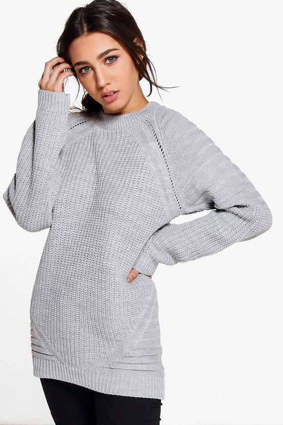 Georgia Ladder & Rib Sleeve Fisherman Jumper