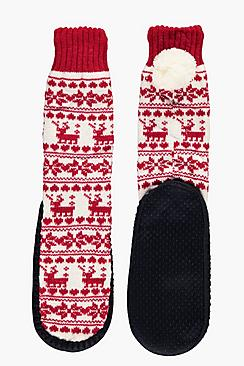 Elsa Knitted Pom Fairisle Sock Boots