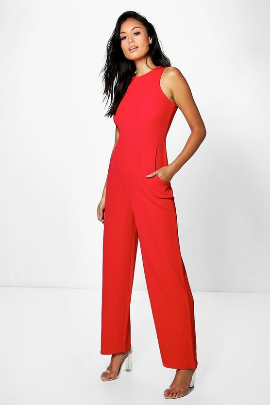Lucy Round Neck Textured Jumpsuit