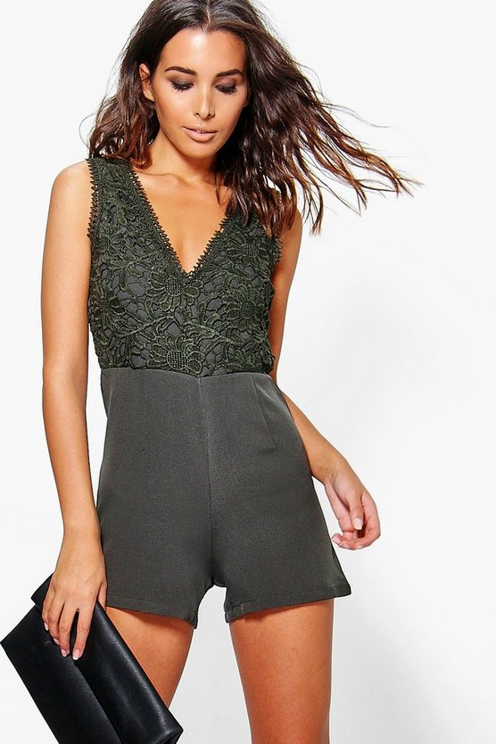 Boutique Ella Crochet Detail Playsuit