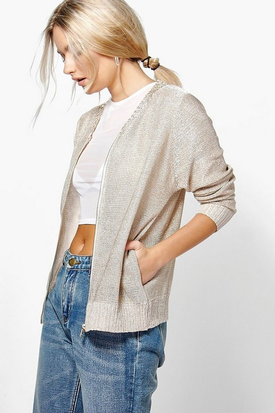 Annabelle Metallic Knit Bomber Jacket