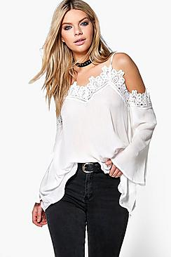 Sarah Boutique Crochet Cold Shoulder Top