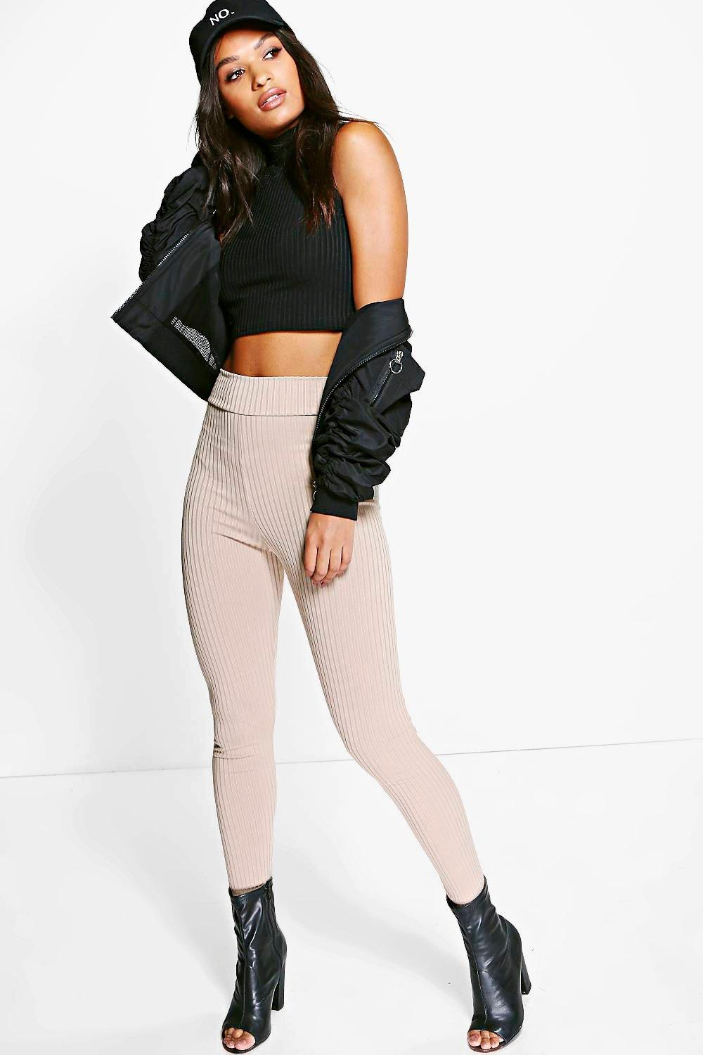 Amya High Waisted Ribbed Leggings stone