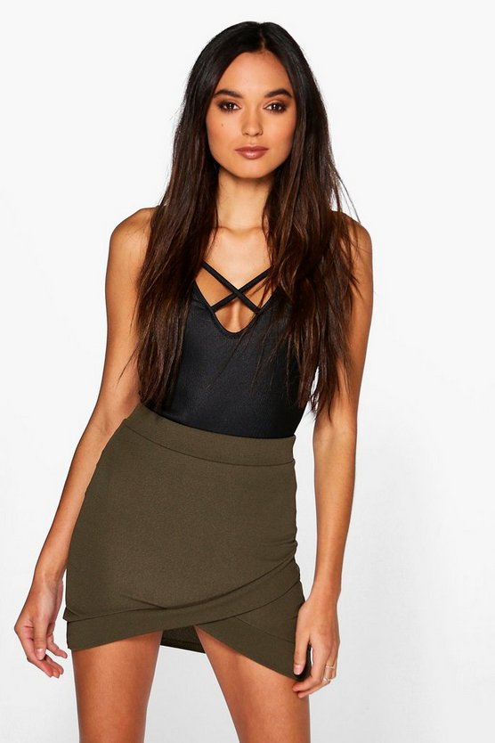 Aria Wrap Front Curved Hem Mini Skirt