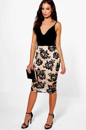 Anja Flocked Mesh Metallic Midi Skirt