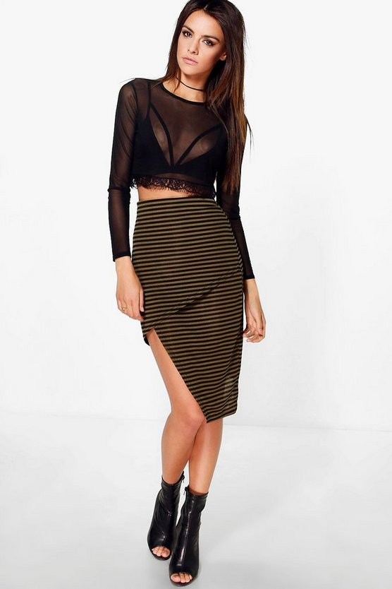 Allegra Striped Rib Asymetric Midi Skirt