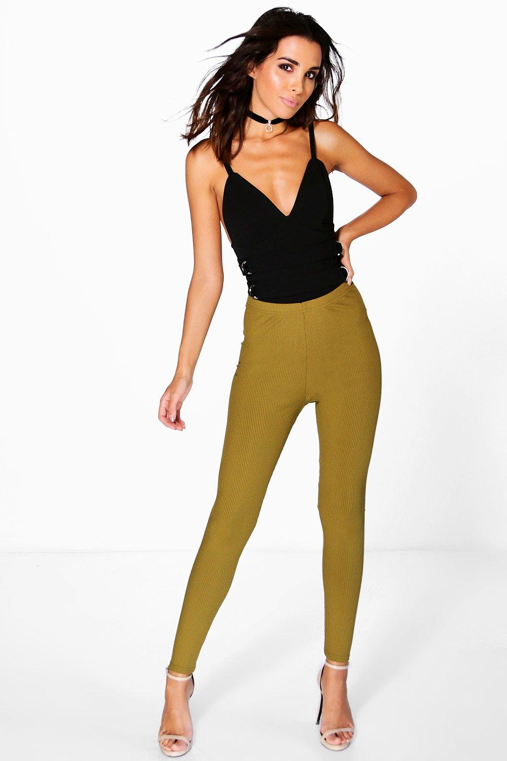 Aubrey Highwaist Ribbed Leggings olive