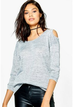 Amelia Strap Open Shoulder Long Sleeve Top