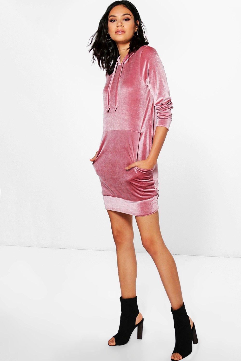 Billie Long Sleeved Velvet Sweat Dress