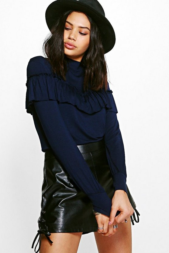 Mia Ruffle Detail High Neck Top
