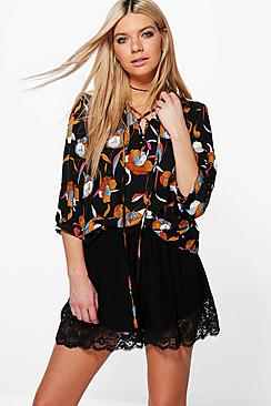 Faye Floral Lace up Blouse