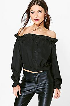 Betty Ruffle Button Through Bardot Top