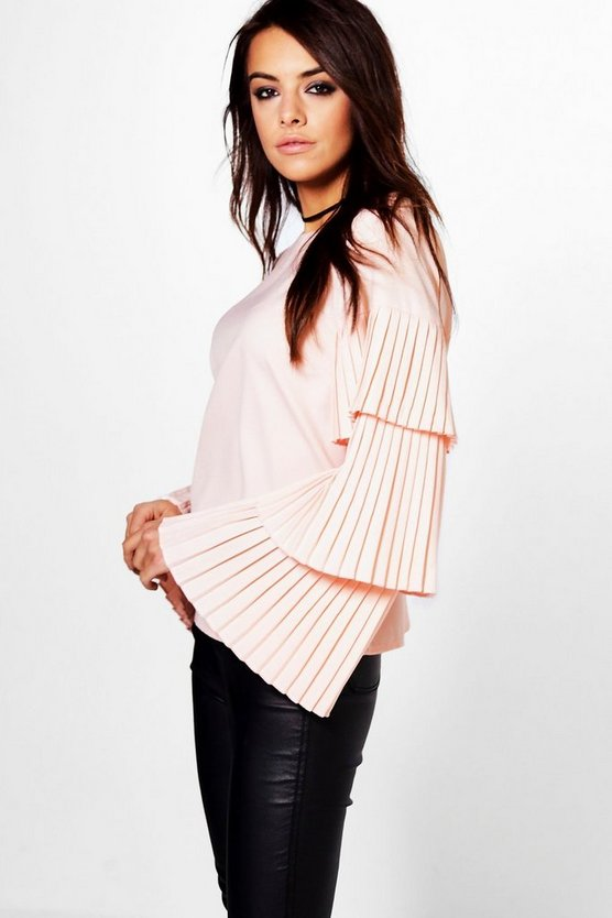 Rea Pleated Ruffle Sleeve Blouse