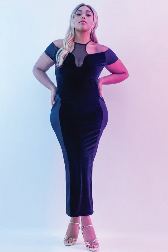 Jordyn Mesh Panel Velvet Bodycon Dress