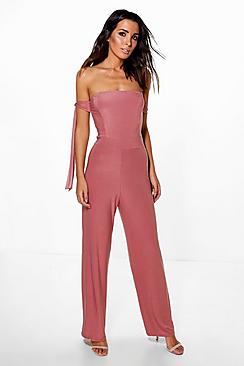 Runa Strapless Tie Detail Wide Leg Jumpsuit