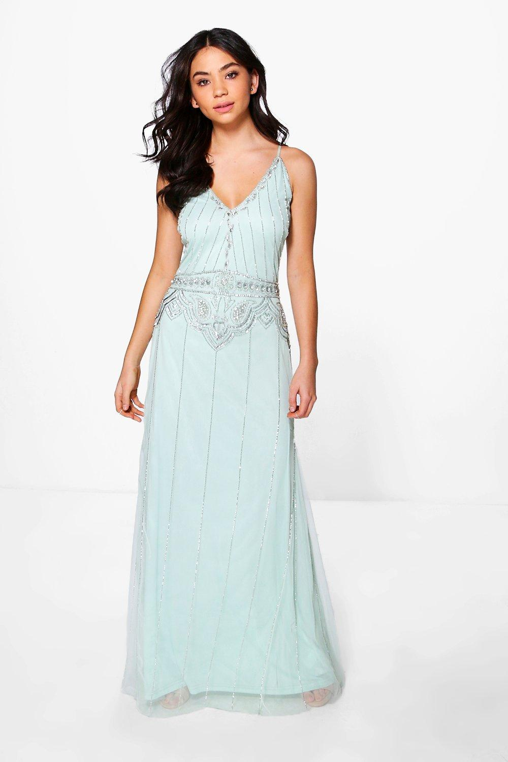 Best 1920s Prom Dresses – Great Gatsby Style Gowns Boutique Tasha Beaded Strappy Maxi Dress mint $80.00 AT vintagedancer.com