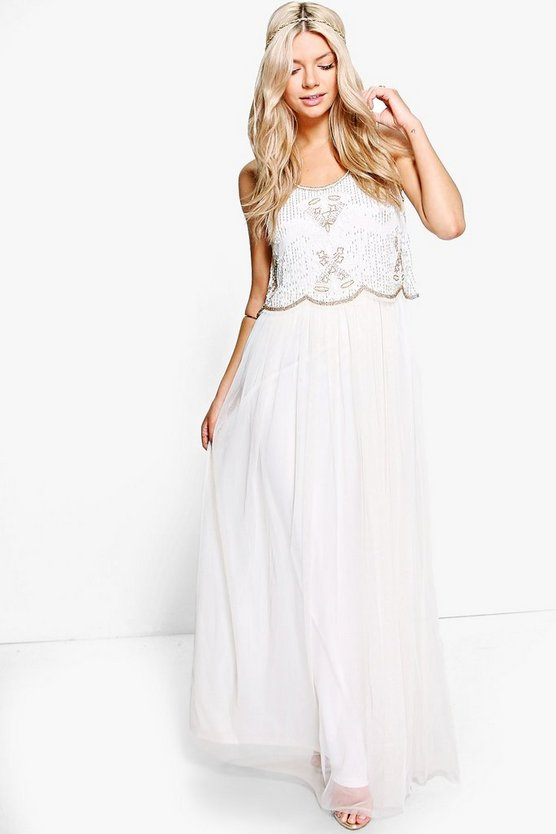 Afika Beaded Double Layer Maxi Dress