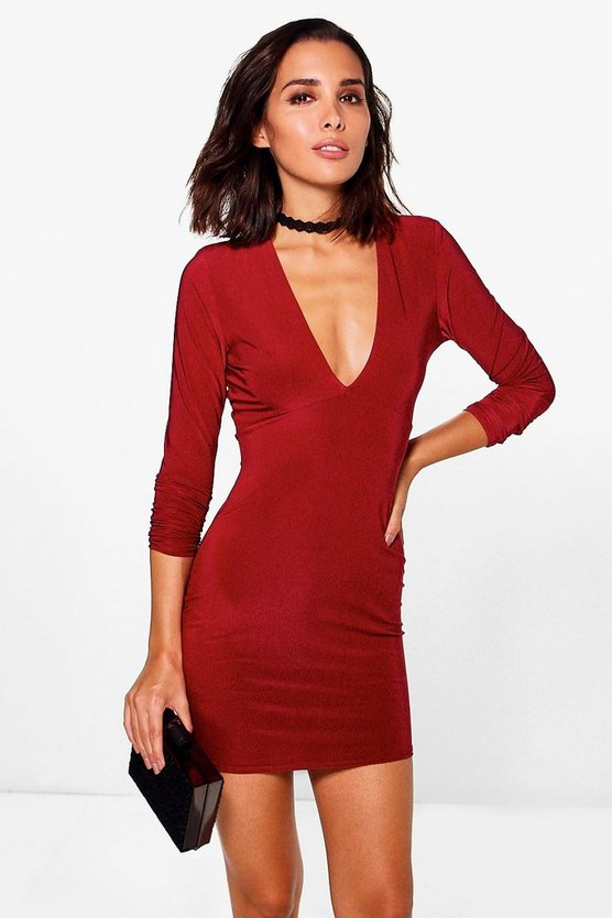 Carrie Plunge Long Sleeve Bodycon Dress