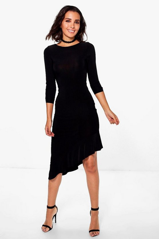 Esme Long Sleeve Frill Asymmetric Midi Dress