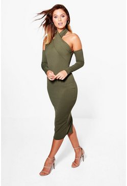 Aleta Crepe Cross Over Midi Boydcon Dress