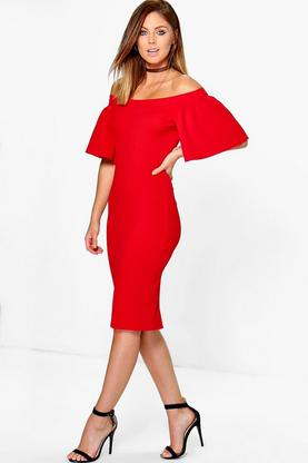 Jenny Frill Off Shoulder Midi Bodycon Dress