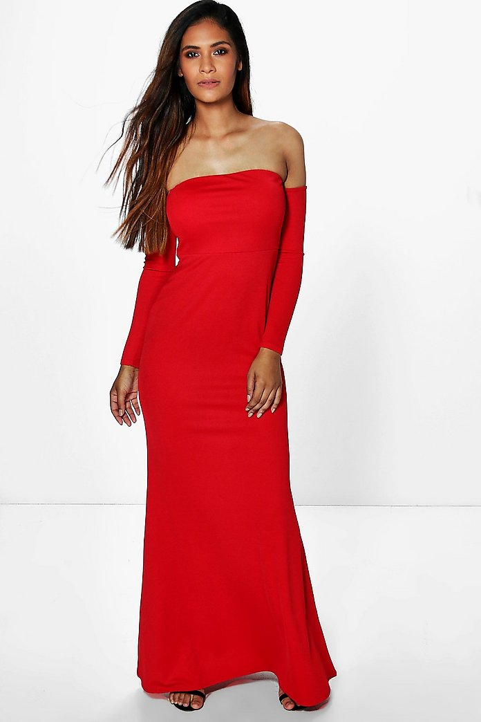 Fleur Crepe Off Shoulder Fish Tail Maxi Dress