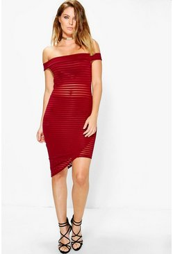 Em Mesh Panelled Off Shoulder Bodycon Dress