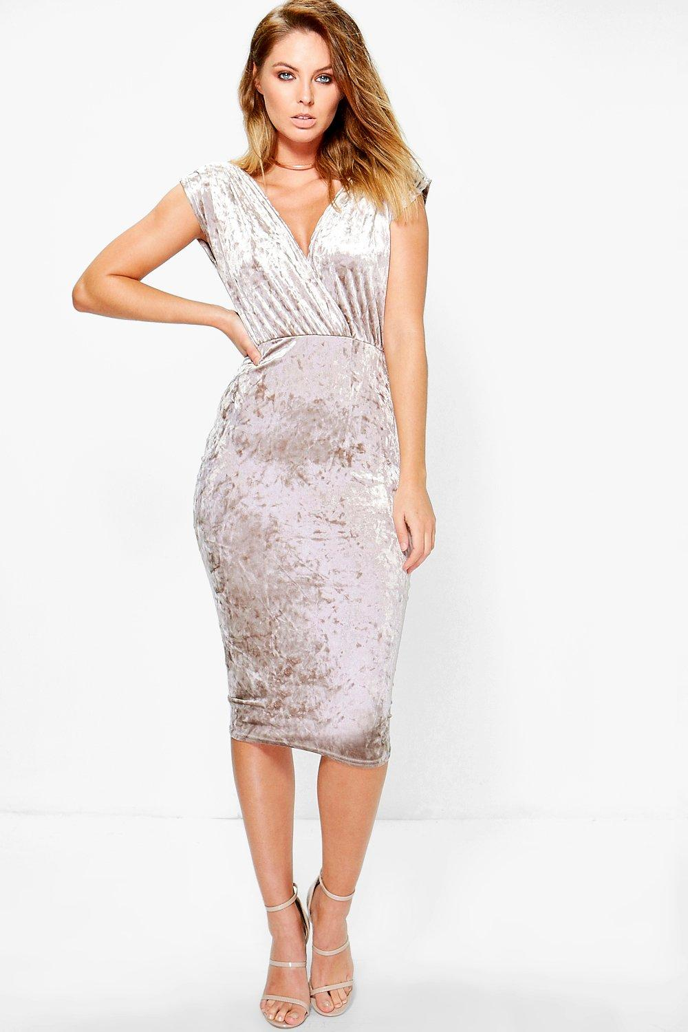 Afia Crinkled Velvet Wrap Midi Bodycon Dress
