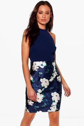 Nadia Satin Floral Sleeveless Belted Dress