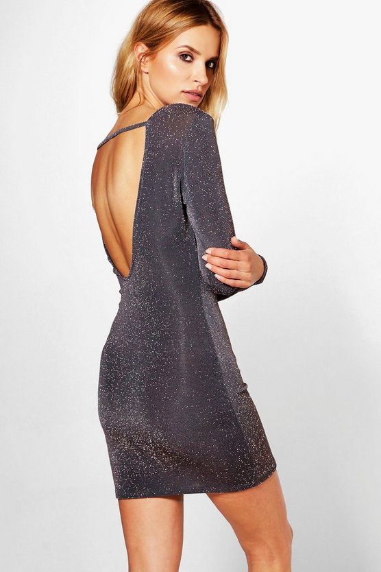 Lara Metallic Scoop & Strap Back Bodycon Dress