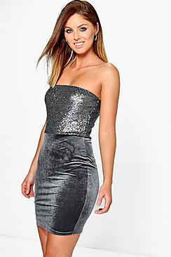 Leia Sequin & Velvet Bandeau Bodycon Dress