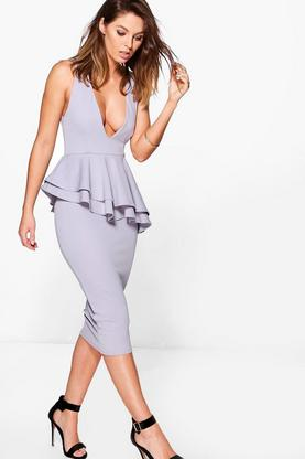 Cera Asymmetric Peplum Plunge Neck Midi Dress