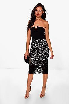 Louise Bandeau Lace Bottom Midi Dress