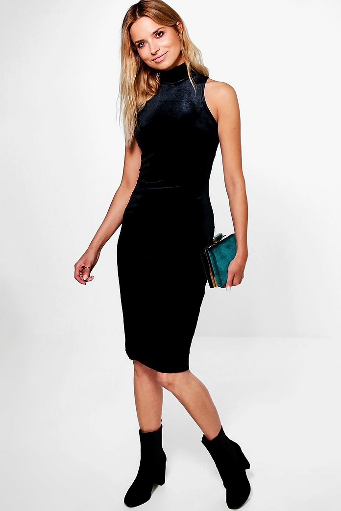 Lois Velvet High Neck Panelled Midi Dress