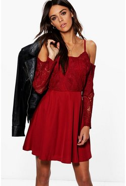 Boutique Pam Cord Lace Top Skater Dress