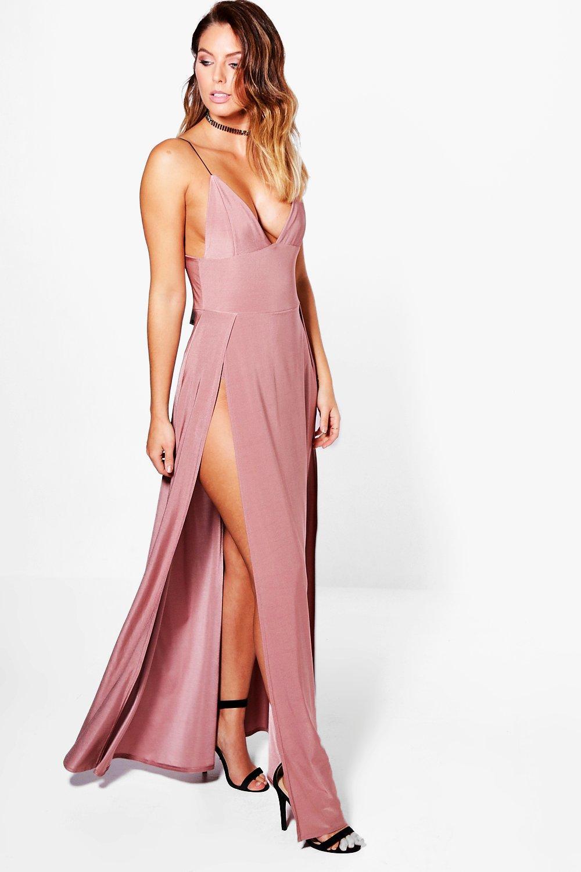 vestido largo elegante con doble abertura en el muslo lilibeth | Boohoo