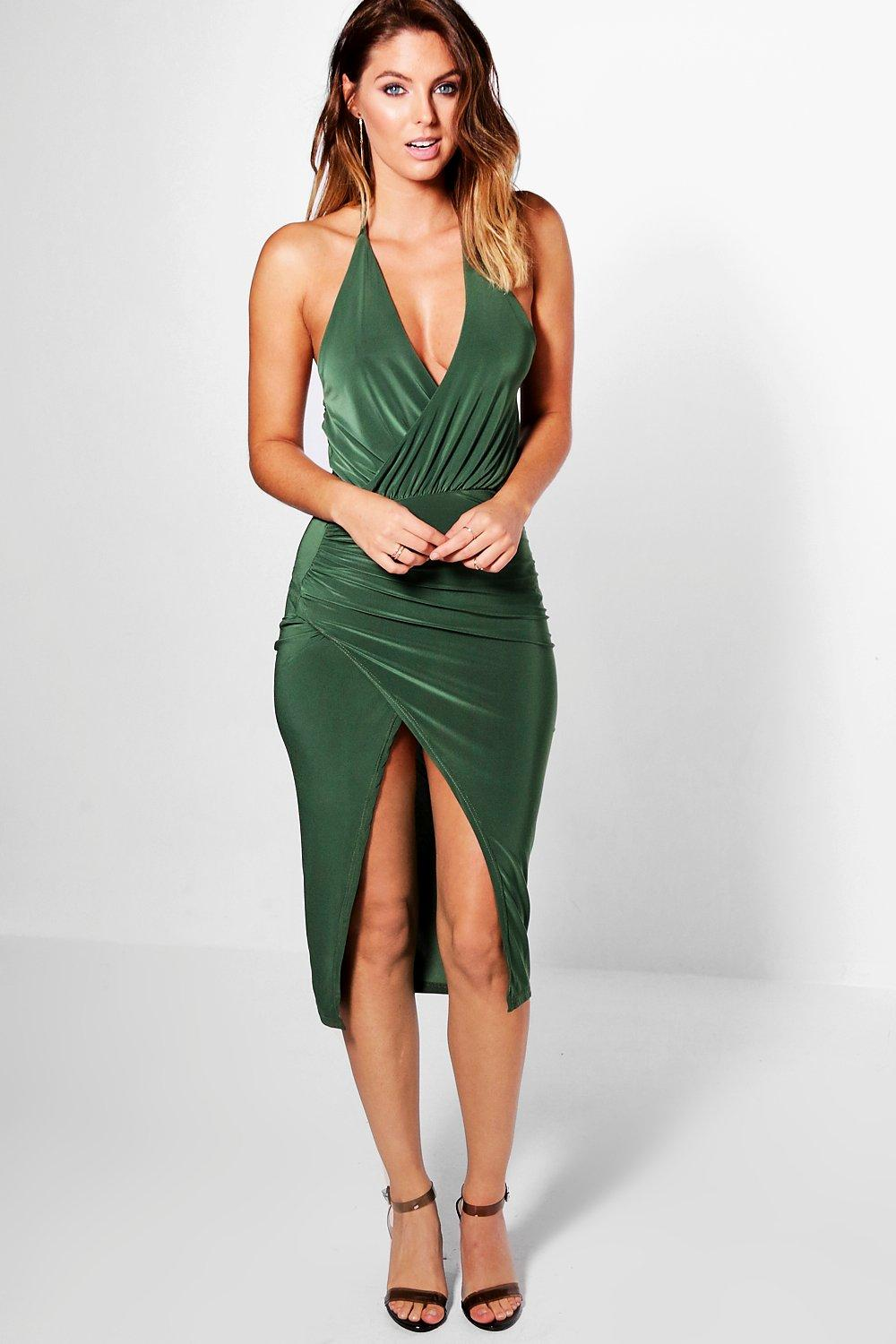 Olivia Slinky Halter Neck Drape Midi Dress