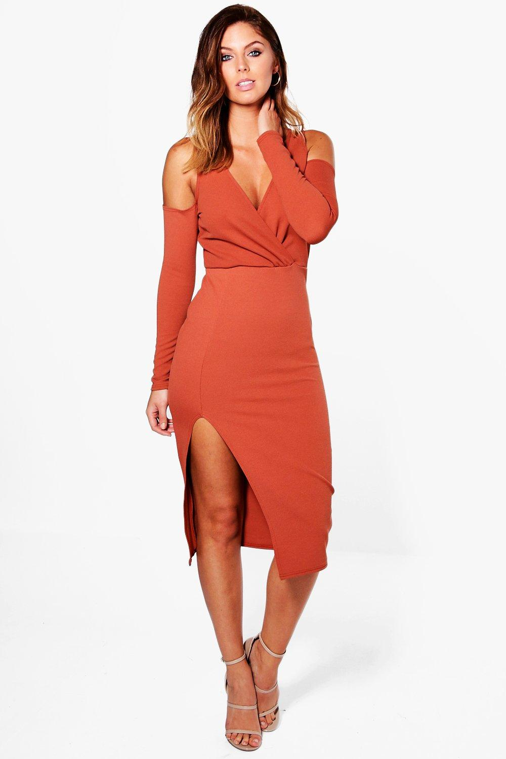 Henrietta Open Shoulder Wrap Midi Dress