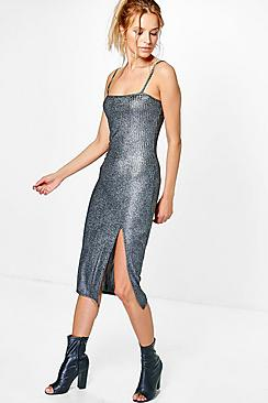 Sally Metallic Rib Thigh Split Midi Dress