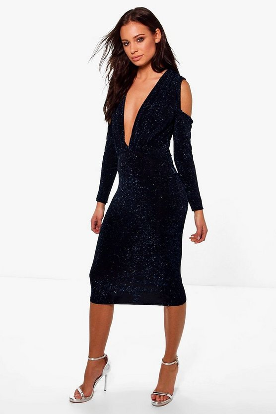 Melinda Metallic Cold Shoulder Plunge Midi Dress