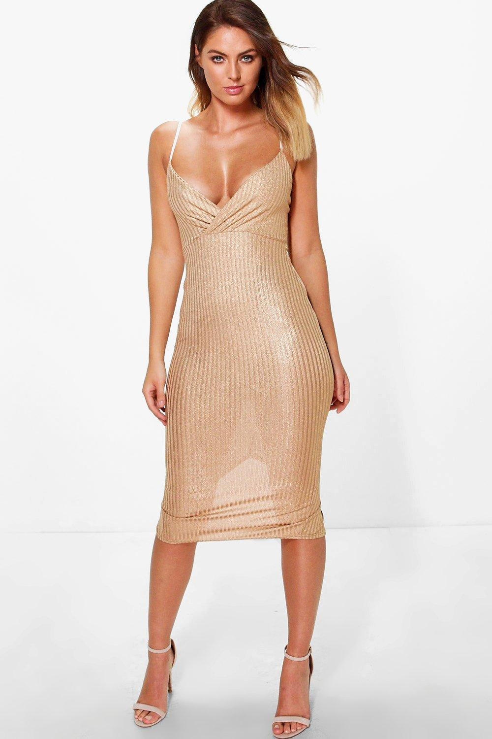 Sara Metallic Ribbed Midi Bodycon Dress
