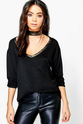 Mary Metallic Contrast Choker Top