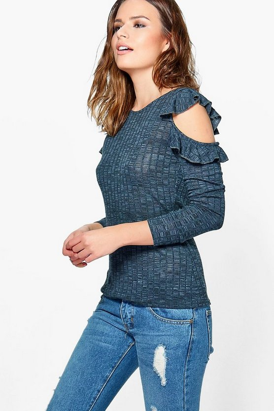 Francesca Rib Frill Detail Cold Shoulder Top