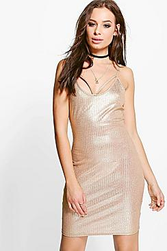 Tiara Metallic Rib Strappy Bodycon Dress