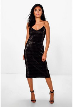 Dehlia Metallic Pleat Fine Strap Slip Dress