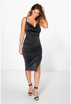 Gail Metallic Strappy Mesh Midi Dress