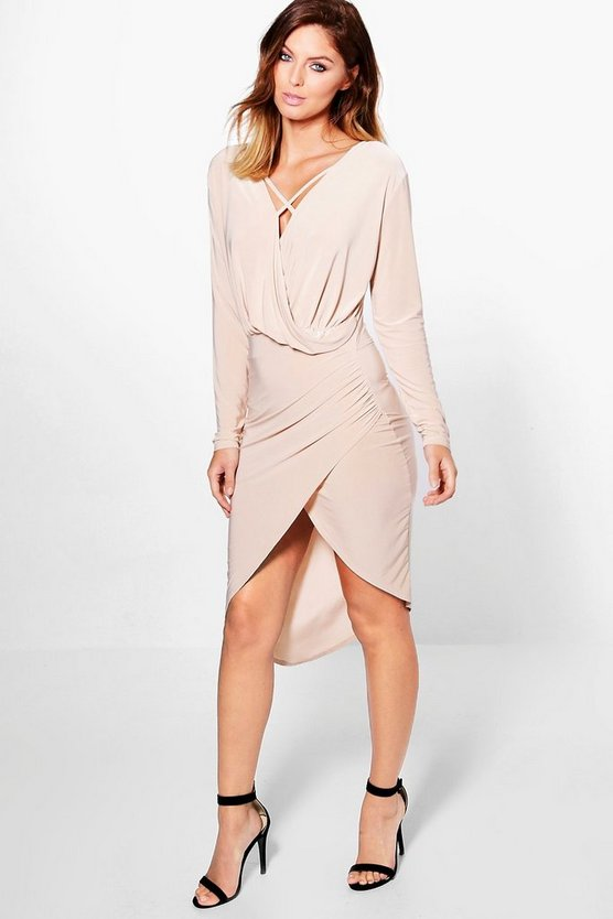 Amelia Cross Strap Wrap Front Midi Dress